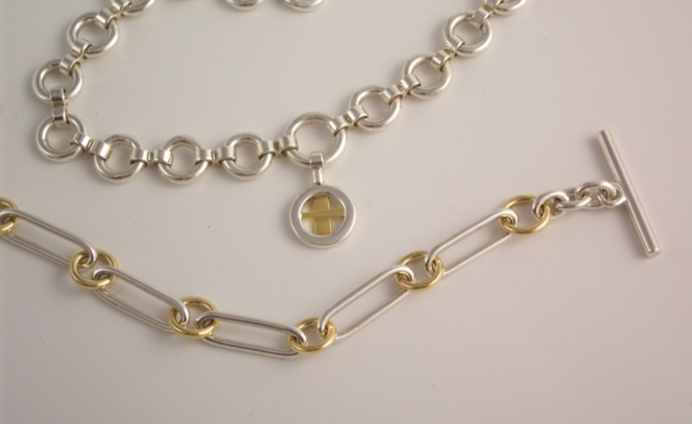 Necklace and Bracelet, silver/18ct gold